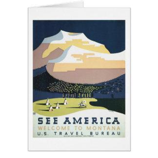 WPA Vintage Travel Poster Montana See America Card