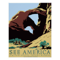 WPA Vintage Travel Poster See America Arches