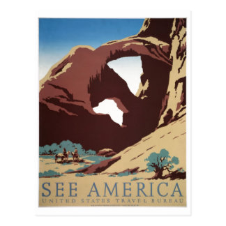 WPA Vintage Travel Poster See America Arches Postcard