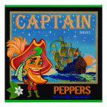 WQ Toys POSTER: Captain Cayenne Pepper Crate Label Poster