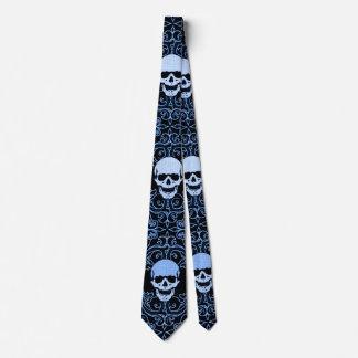 Wraithe Vintage Blue Gothic Skulls Gentleman's Tie