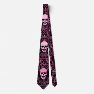 Wraithe Vintage Pink Gothic Skulls Gentleman's Tie