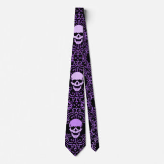 Wraithe Vintage Purple Gothic Skulls Gentleman's Neck Tie