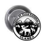 Wrangell St. Elias Nat Park Alaska moose circle Pinback Button