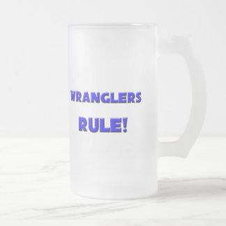 Wranglers Rule! Frosted Glass Beer Mug