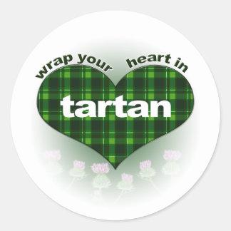 Wrap Your Heart In Tartan Classic Round Sticker