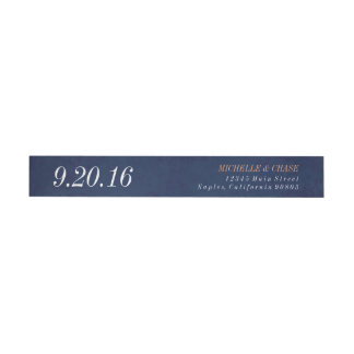 Wraparound address label, navy blue, save the date wrap around label