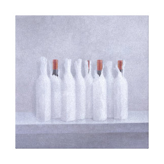 Wrapped bottles on grey 2005 canvas print