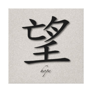 Wrapped Canvas Chinese Symbol For Hope On Concrete