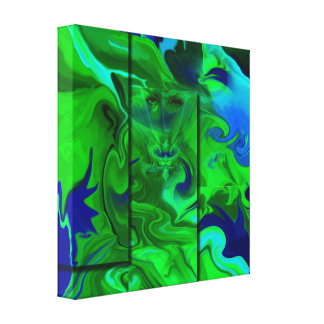Wrapped Canvas- Hidden abstract art/Green+blue Canvas Print