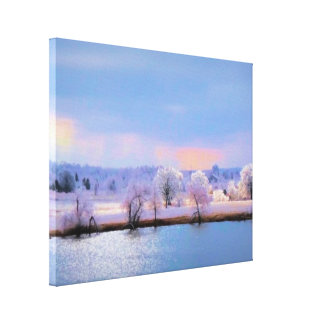 Wrapped Canvas, Icy Pond and Willows in Pastels Canvas Print