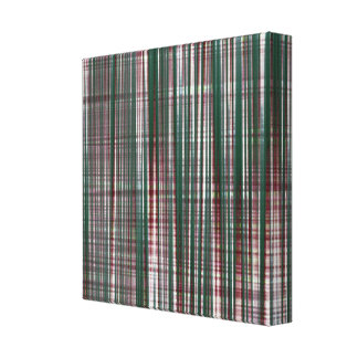 Wrapped Canvas Print, Abstract Green Maroon Plaid