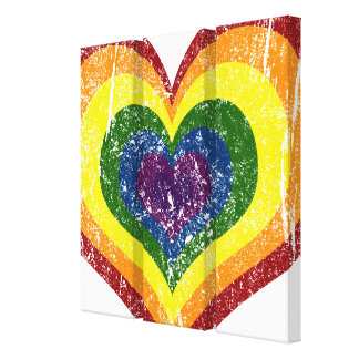 Wrapped Canvas Print, Grungy Rainbow Heart