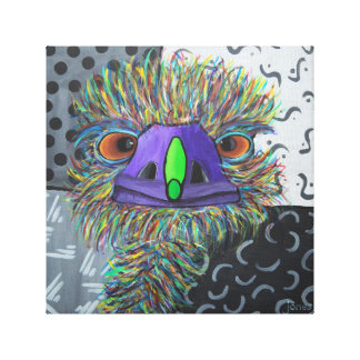 wrapped canvas print of an emu