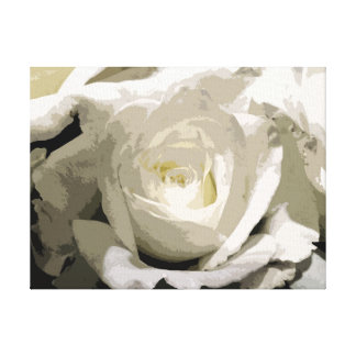 Wrapped Canvas Print - White Rose Neutral 3308