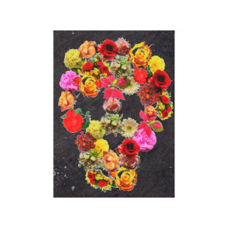 Wrapped Canvas Skull Flowers