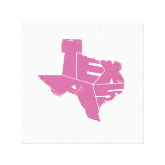 Wrapped Canvas with Pink Texas State Map