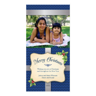 Wrapped Gift Blue Chevron Christmas Photo Cards