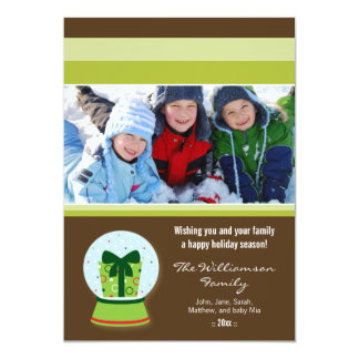 Wrapped Gift Snowglobe Custom Family Holiday Card