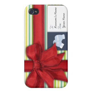 Wrapped Gift with Ribbon and Tag Cover For iPhone 4