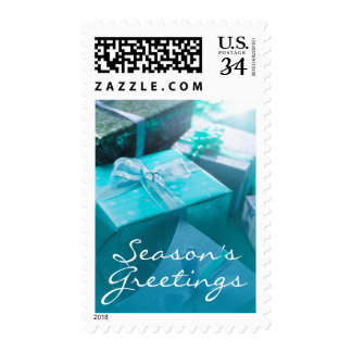 Wrapped gifts postage stamp
