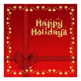 Wrapped Golden Stars and Snowflakes Happy Holidays Poster