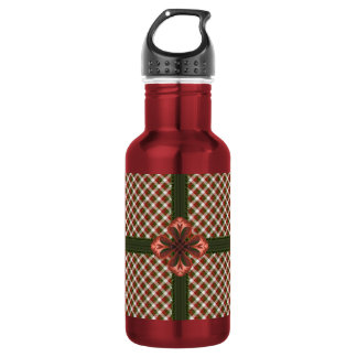 Wrapped Holiday Gingham Water Bottle