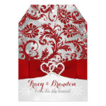 Wrapped in Love Joined Hearts Wedding Invite Red