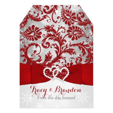 """Wrapped in Love Joined Hearts Wedding Invite Red 5"""" X 7"""" Invitation Card"""
