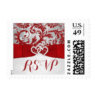 Wrapped in Love Joined Hearts Wedding RSVP Postage
