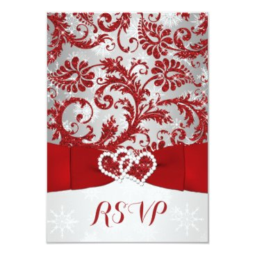"""Wrapped in Love Joined Hearts Wedding RSVP - Red 3.5"""" X 5"""" Invitation Card"""