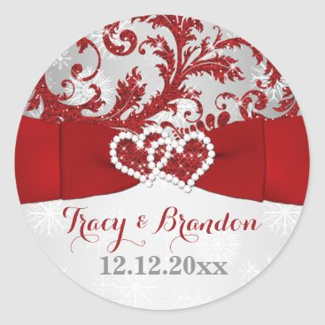 Wrapped in Love Joined Hearts Wedding Sticker