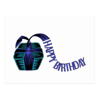 Wrapped present with ribbon saying happy birthday postcard