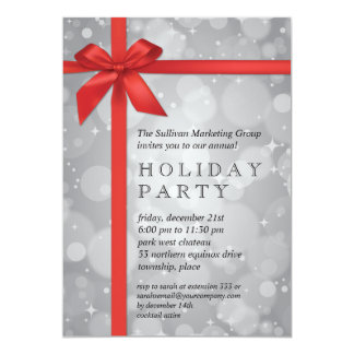 Wrapped Silver Glow Corporate Holiday Party Personalized Invitation