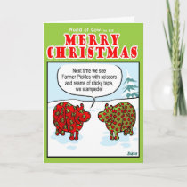 Wrapping Cows Holiday Card