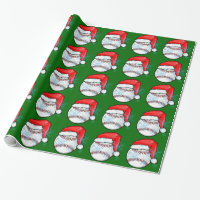 Wrapping Paper - Christmas Santa Baseball