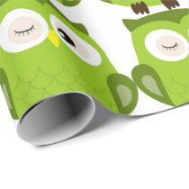 Wrapping Paper - Green Owl