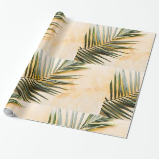 Wrapping Paper Pastel Palm Leaf Green Orange