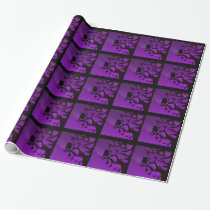 Wrapping Paper - Purple & Black Owl Silhouette