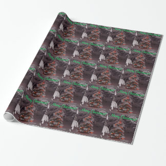 Wrapping Paper Snowy Christmas Tree Bright Lights