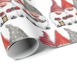 """Wrapping Paper - Three Christmas Gnomes<br><div class=""""desc"""">Choose the length & media you want this Christmas wrapping paper.</div>"""
