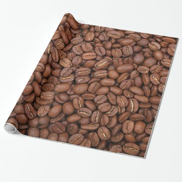 Coffee Themed Wrapping paper with Arabica coffee beans