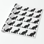 Wrapping paper with black and white cat design