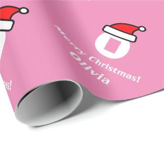 Wrappingpaper rosado de las Felices Navidad de la Papel De Regalo