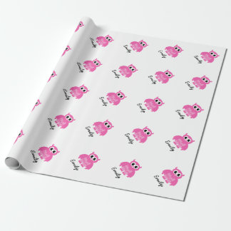 Wrappingpaper rosado femenino del búho de la papel de regalo