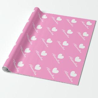 Wrappingpaper rosado personalizado de la fiesta de papel de regalo