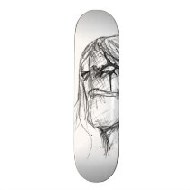 Wrath Anime black and white drawing Skateboard Deck