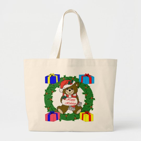 Wreath and bear design with gift boxes large tote bag