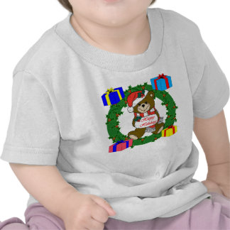 Wreath and bear design with gift boxes tee shirts