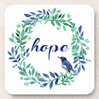 Wreath And Bird Design Motivational Hope Quote Beverage Coaster